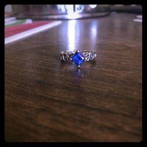 Unique Treble Clef Sapphire Ring - Princess Cut